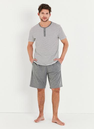Penti Çok Renkli Grey Stripe Şort Takımı Renkli